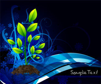 Vector Green Floral With Blue Background Vector Illustrations wave