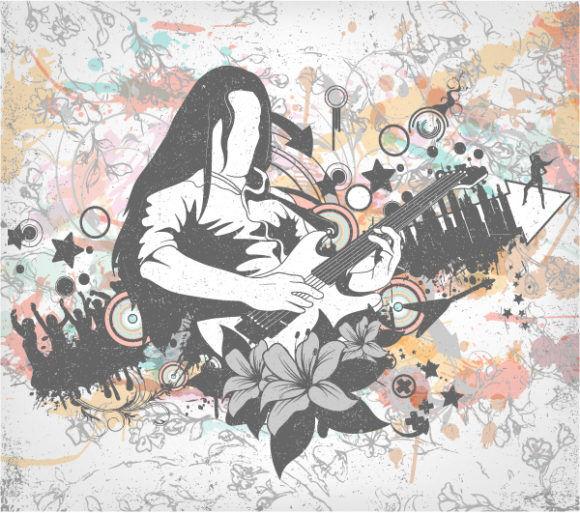 Vector Grunge Concert Poster Vector Illustrations star