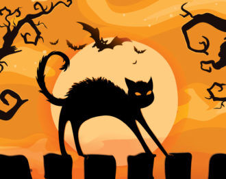 Halloween Background With Cat Vector Illustration Vector Illustrations tree
