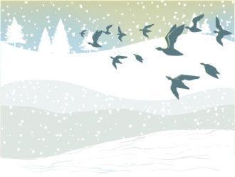 Winter Background With Birds Vector Illustration Vector Illustrations tree