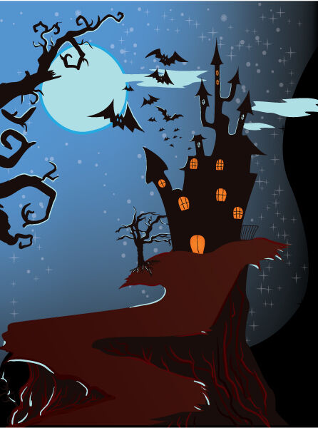 Halloween Background Vector Illustration Vector Illustrations tree