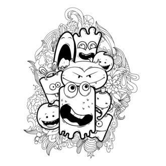Cute Monsters Vector Illustration Vector Illustrations floral