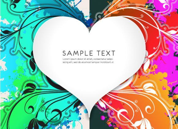 Heart With Floral Vector Illustration Vector Illustrations old