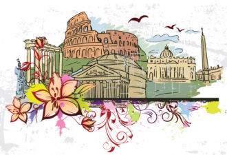 Rome Doodles With Floral Vector Illustration Vector Illustrations building