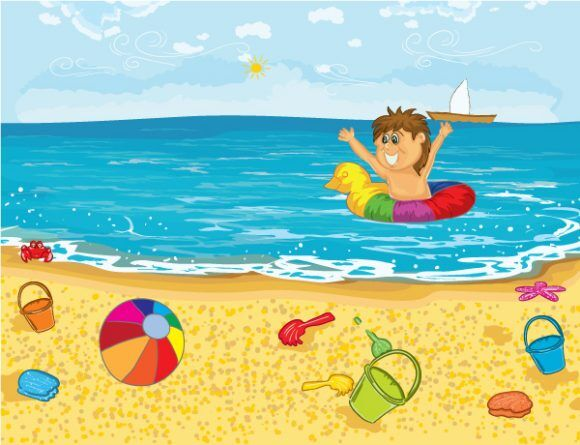 Vector Kid Playing In Water Vector Illustrations sea