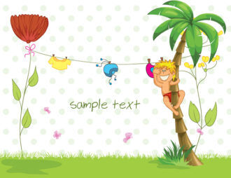 Vector Summer Background With Boy In Palm Tree Vector Illustrations palm
