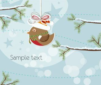Vector Christmas Greeting Card With Bird Vector Illustrations tree