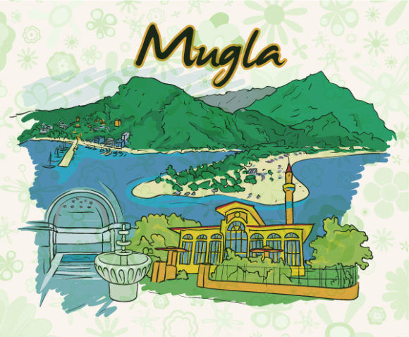 Mugla Doodles With Floral Vector Illustration Vector Illustrations building