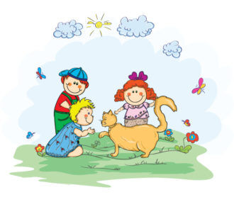 Kids Playing With A Cat Vector Illustration Vector Illustrations floral
