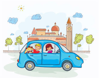 Family Going For A Ride Vector Illustration Vector Illustrations tree