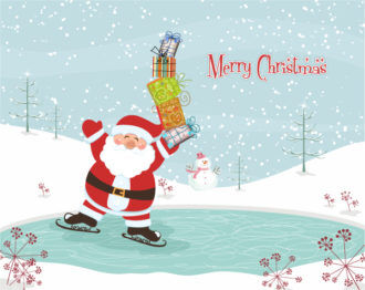 Vector Winter Background With Santa Vector Illustrations vector