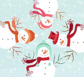 Vector Winter Background With Snowmen Vector Illustrations vector