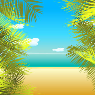 Vector Summmer Background With Palm Leaves Vector Illustrations palm