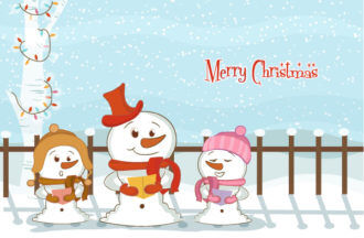 Vector Christmas Background With Snowmen Vector Illustrations tree