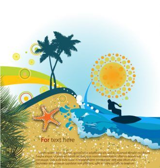 Summer Background Vector Illustration Vector Illustrations palm