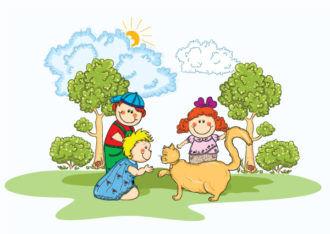 Kids Playing Vector Illustration Vector Illustrations tree