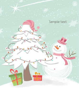 Vector Snowman With Tree Vector Illustrations star
