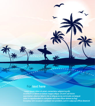 Summer Background With Palm Trees Vector Illustration Vector Illustrations sea