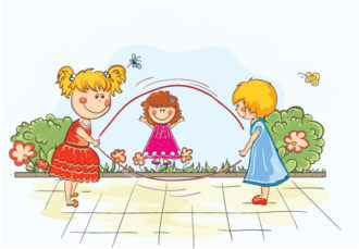 Kids Playing Vector Illustration Vector Illustrations floral