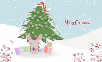 Vector Bunny With Tree Vector Illustrations tree