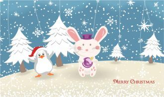 Vector Bunny With Penguin Vector Illustrations tree