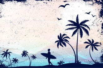 Summer Grunge Background Vector Illustration Vector Illustrations palm