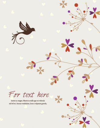 Bird With Floral Vector Illustration Vector Illustrations floral