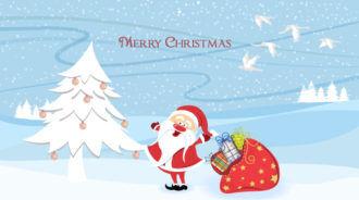 Santa With Tree Vector Illustration Vector Illustrations tree