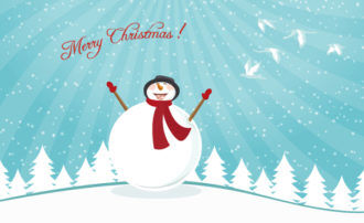 Vector Christmas Card With Snowman Vector Illustrations tree
