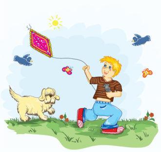 Kid With Kite Vector Illustration Vector Illustrations vector