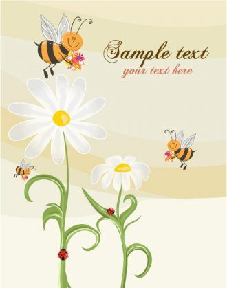 Bees With Floral Vector Illustration Vector Illustrations floral