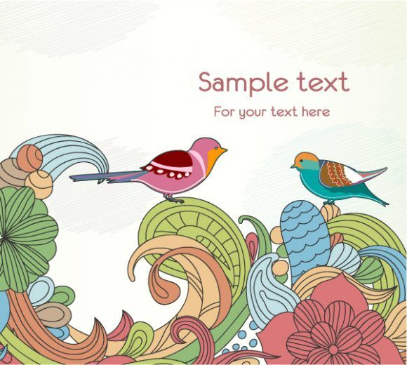 Free Birds With Floral Vector Illustration Freebies floral
