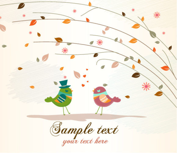 Love Birds With Floral Vector Illustration Vector Illustrations floral