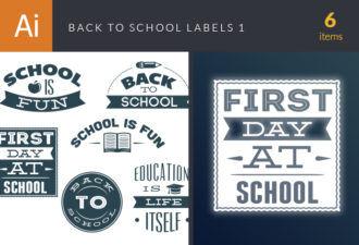 Back To School Labels Vector Set 1 Vector packs flat