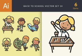 Back To School Vector Set 14 Vector packs girl