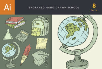 Hand-Drawn School Vector Set 1 Vector packs vintage