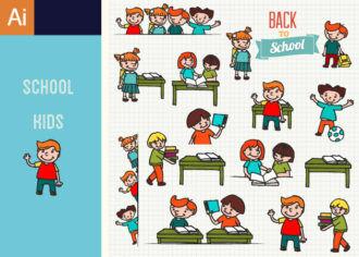 Kids School Vector Set 1 Vector packs kid