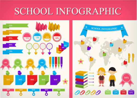 School Infographic Vector Infographics star