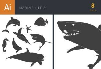 Marine Life Underwater Vintage Vector Set 3 Vector packs fish