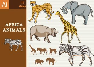 Africa Animals Vector Set 1 Vector packs zebra