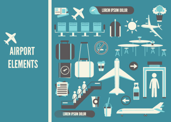 Airport Icons Vector Set 1 Vector packs glass