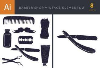 Barber Shop Vintage Vector Set Vector packs bottle