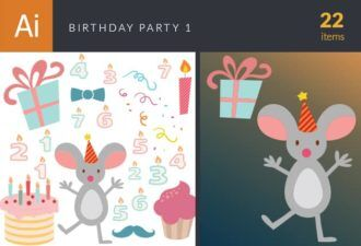 Birthday Party Vector Set 1 Vector packs ribbon