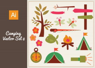 Camping Vector Set 8 Vector packs tree