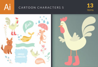 Cartoon Characters Vector Set 5 Vector packs nature