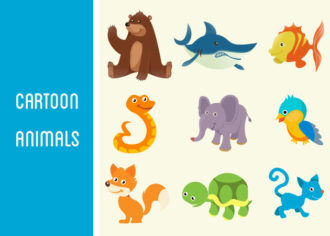 Cartoon Animals Vector Set 1 Vector packs bird