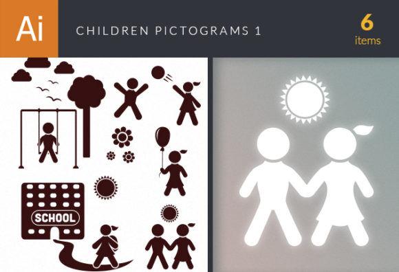 Children Pictogram Icons Vector Set 1 Vector packs people