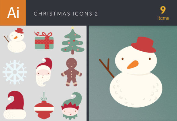 Christmas Icons Vector Set 2 Vector packs ornament