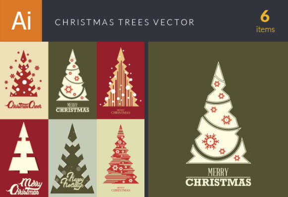 Christmas Trees Vector Set 18 Vector packs christmas