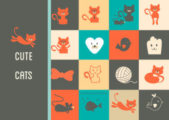 Cute Cats Icons Vector Set 1 Vector packs ribbon
